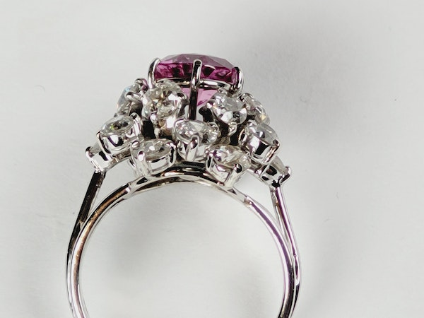 Fantastic French pink sapphire and old cut diamond dress ring Sku 5088  DBGEMS - image 3