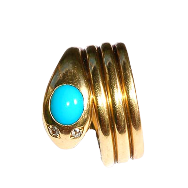 Turquoise serpent hoop - image 1