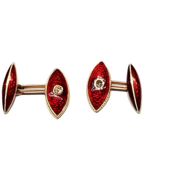 Antique Guilloche red enamel and diamond cufflinks  DBGEMS - image 1