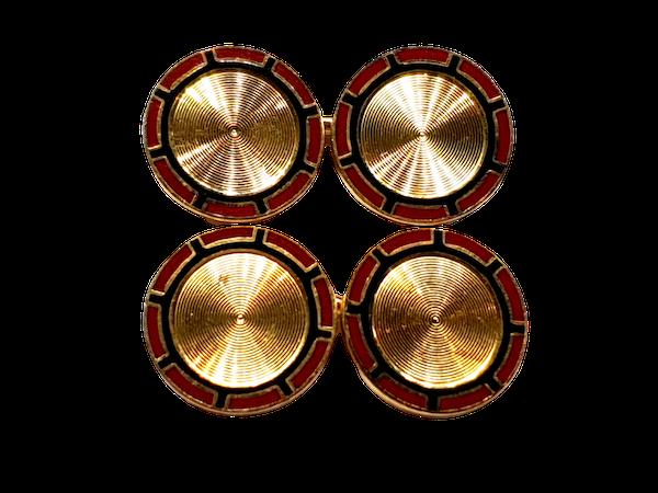 Art deco enamel 18ct gold engine turned cufflinks  DBGEMS - image 1