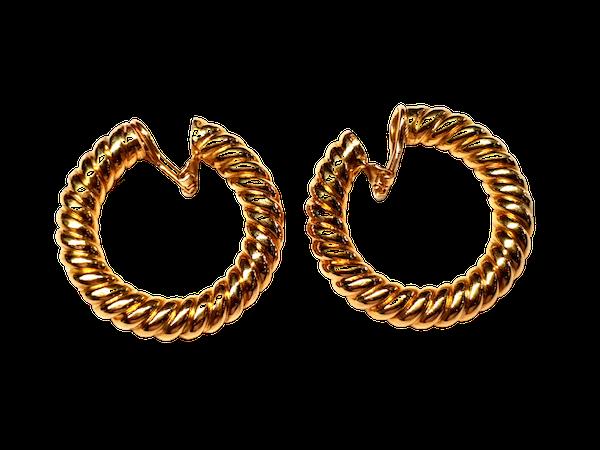 Cool 1960's large twisted hoop earrings  DBGEMS - image 1