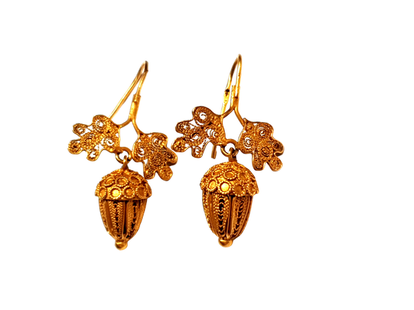 Antique acorn filigree 18ct gold earrings  DBGEMS - image 1