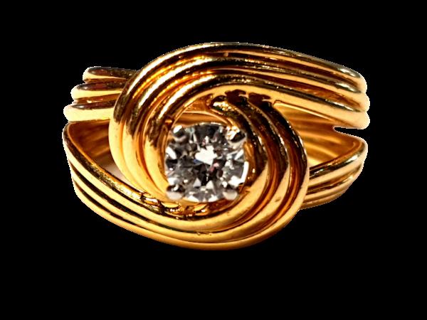 Stylish French 18ct gold and diamond ring  DBGEMS - image 1