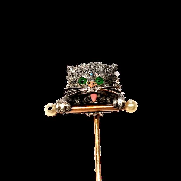 Naughty cat antique diamond and enamel pin  DBGEMS - image 1