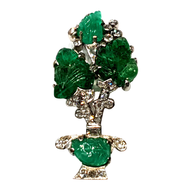 Carved emerald and diamond giardinetti brooch  DBGEMS - image 1