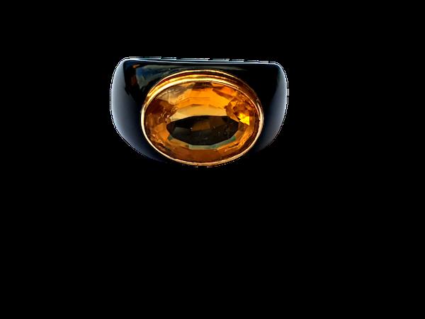 Citrine and onyx dress ring  DBGEMS - image 1