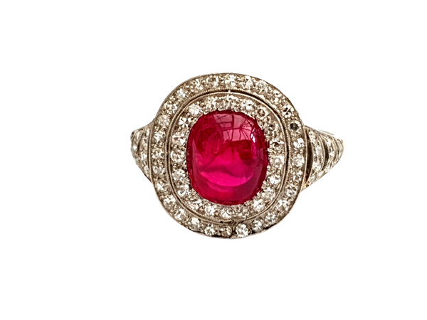 Natural cabochon ruby and diamond art deco target engagement ring - image 1