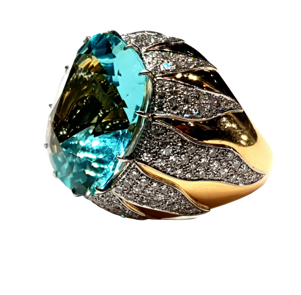 Show stopping aquamarine and diamond dress ring  DBGEMS - image 1