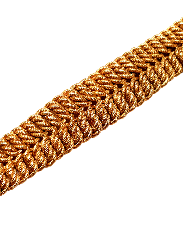 18ct gold inter woven wide gold bracelet  DBGEMS - image 1
