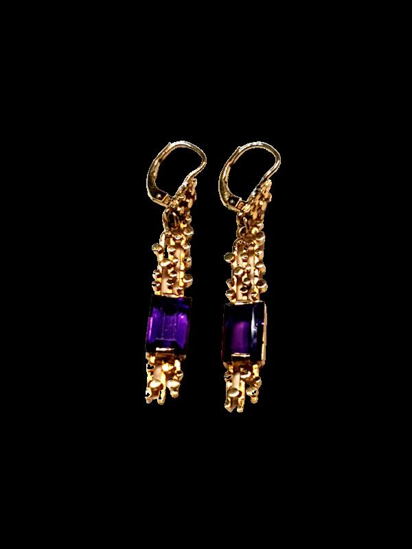 1960's amethyst drop earrings  DBGEMS - image 1