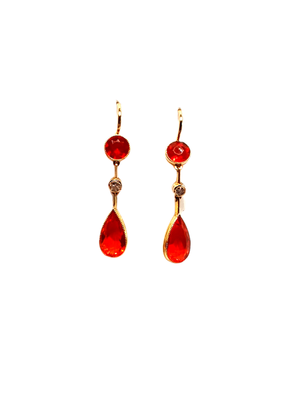 Antique fire opal drop earrings  DBGEMS - image 1