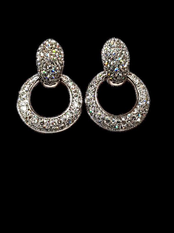 Pave diamond top and hoop drop earrings  DBGEMS - image 1