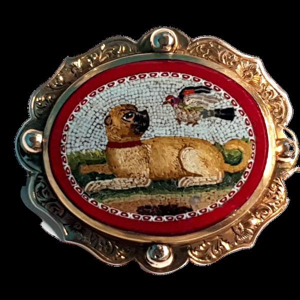 Rare Antique micro mosaic swivel brooch  DBGEMS - image 1