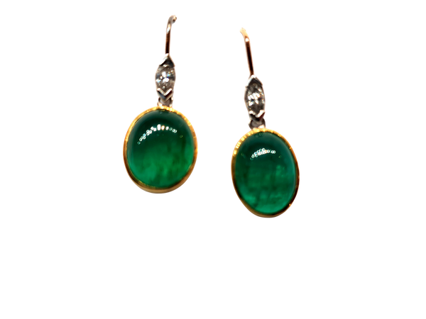 Cabochon emerald and marquise cut diamond drop earrings - image 1