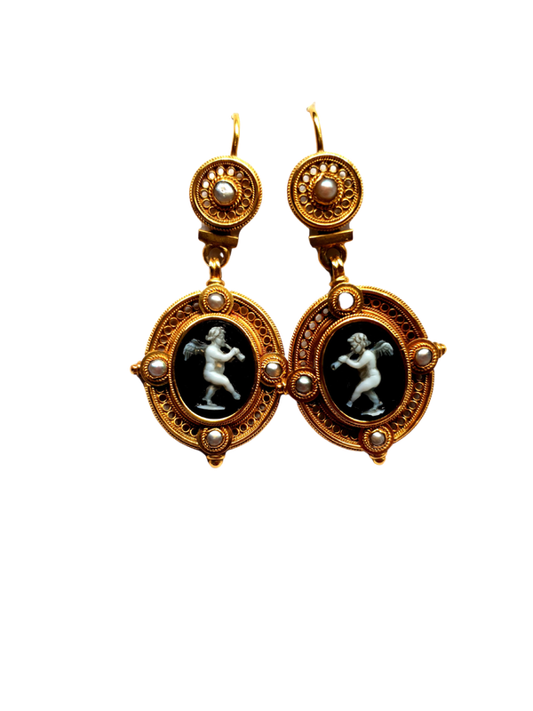 Antique Etruscan revival hardstone cameo earrings  DBGEMS - image 1