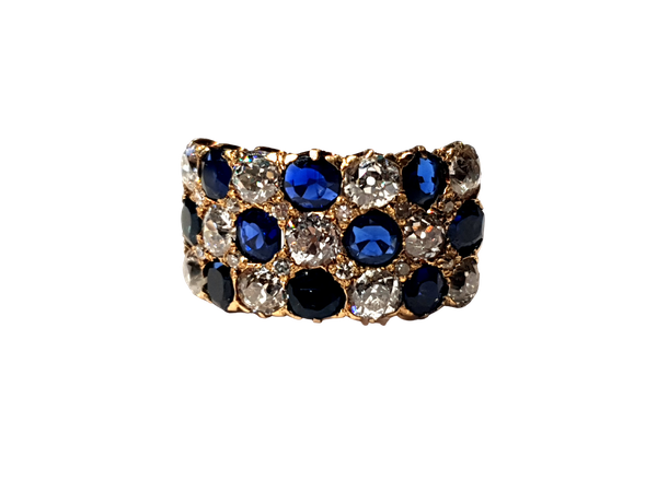 Fabulous antique sapphire and diamond three row ring  DBGEMS - image 1