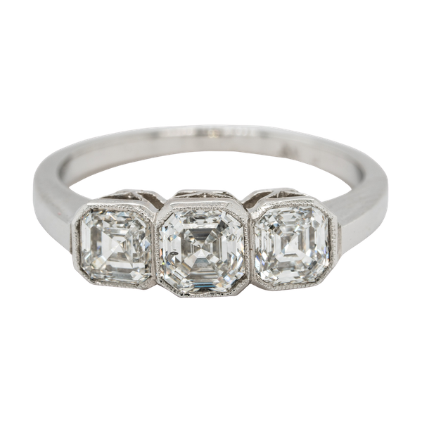3 stone diamond ring with matching asscher cut diamonds - image 1