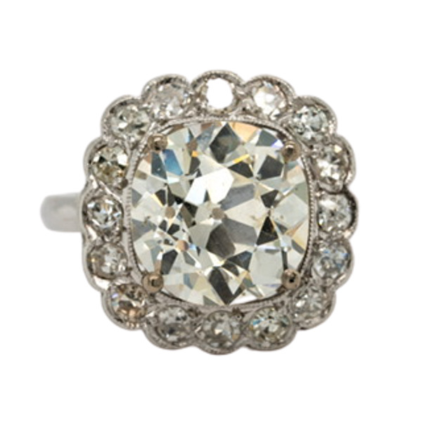 Large Cushion cut diamond cluster ring - image 1