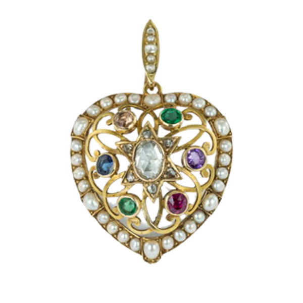 C19th heart locket with gem stones spelling ADORE - image 1