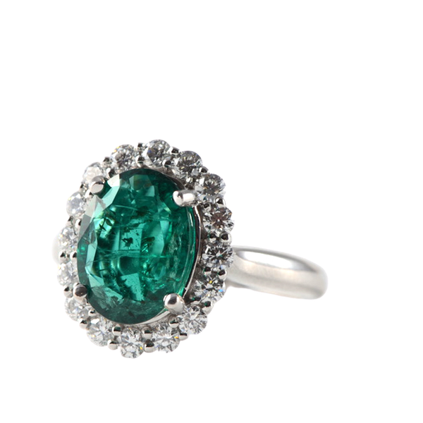 1970's 18ct White Gold Emerald & Diamond stone set Ring, SHAPIRO & Co - image 1