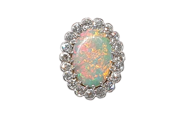 Fabulous art deco opal and diamond cluster ring  DBGEMS - image 1
