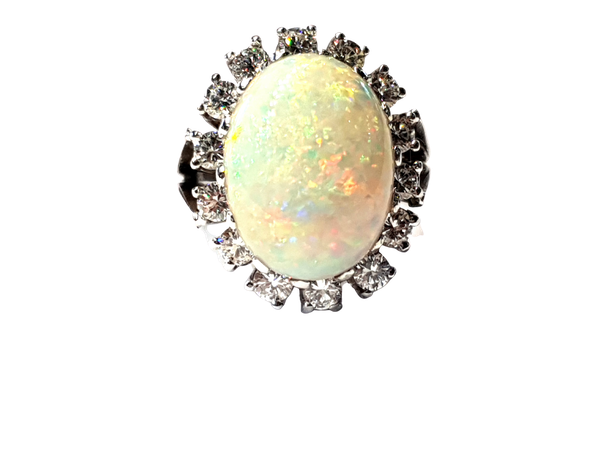 Substantial opal and diamond dress ring  DBGEMS - image 1