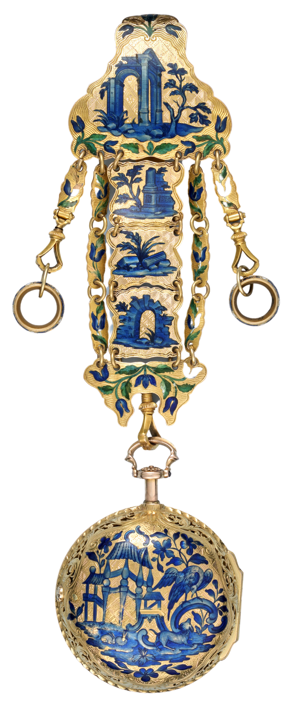 GOLD AND ENAMEL REPEATER AND CHATELAINE - image 1