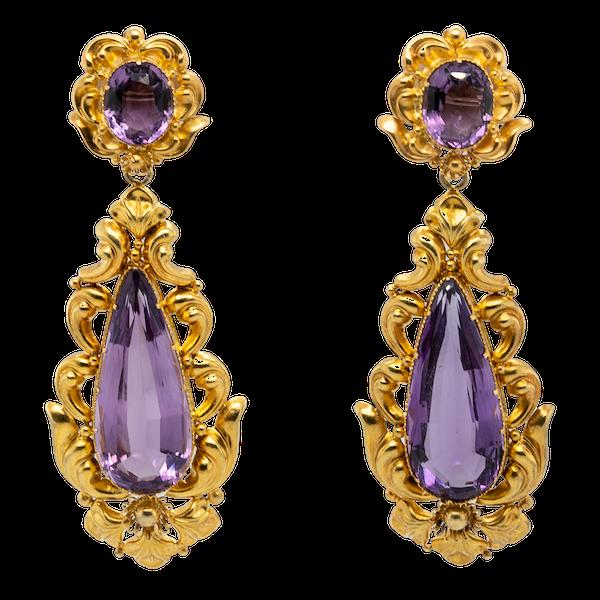 Early Victorian Amethyst Earrings - image 1