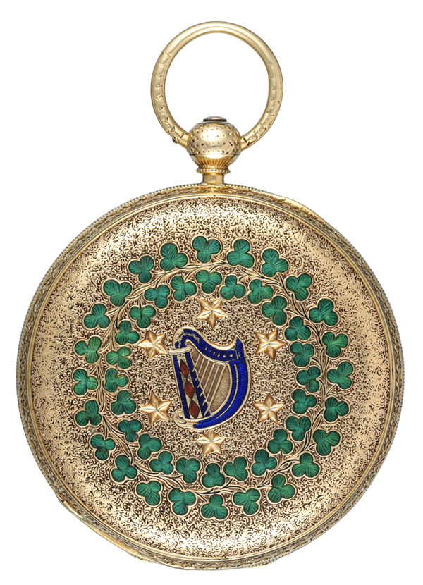 RARE IRISH GOLD AND ENAMEL LEVER - image 1