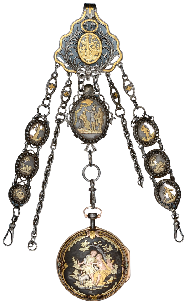RARE GOLD DECORATED WATCH AND CHATELAINE - image 1