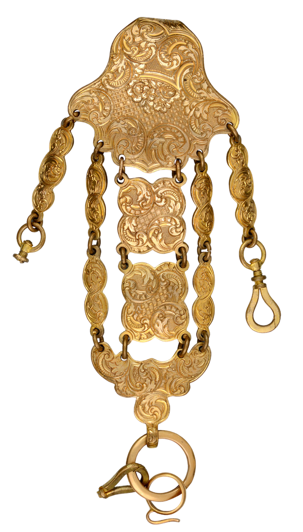 ENGRAVED GILT METAL CHATELAINE - image 1