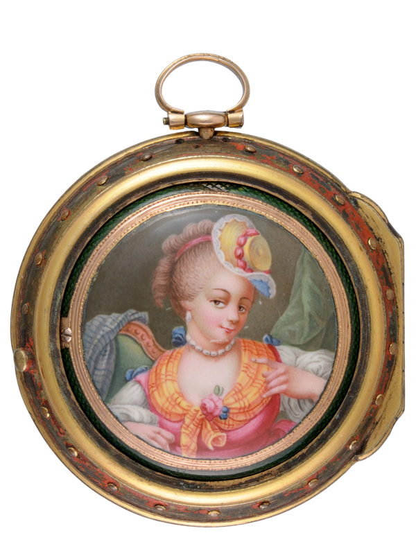 GOLD AND ENAMEL TRIPLE CASED VERGE POCKET WATCH - image 1