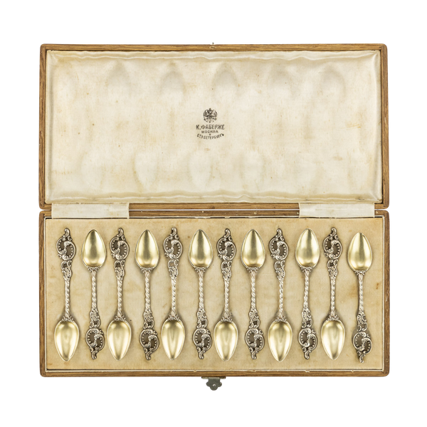 Faberge Set of Twelve Silver Gilt Coffee Spoons, Moscow, c1890 - image 1