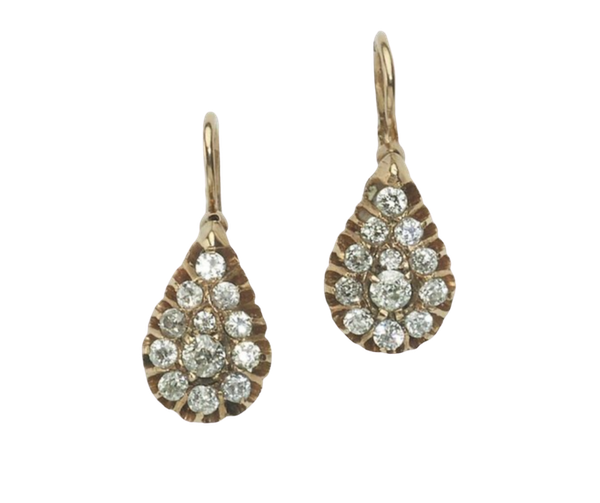 Antique Russian Diamond And Gold Earrings - image 1