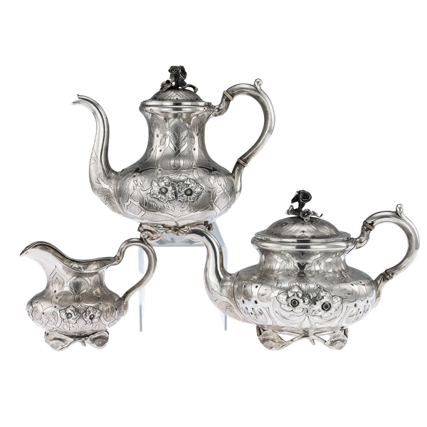 Russian Silver 3 Piece Tea & Coffee Set, St. Petersburg 1856 - image 1