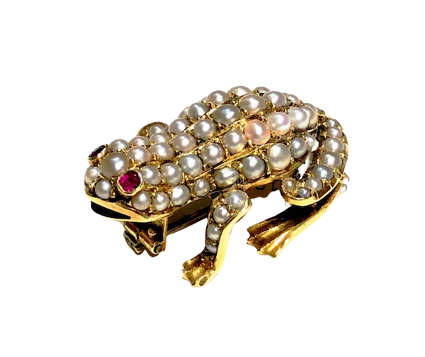 Antique Frog Brooch Gold Set With Pearls And Rubies Circa 1900 - image 1