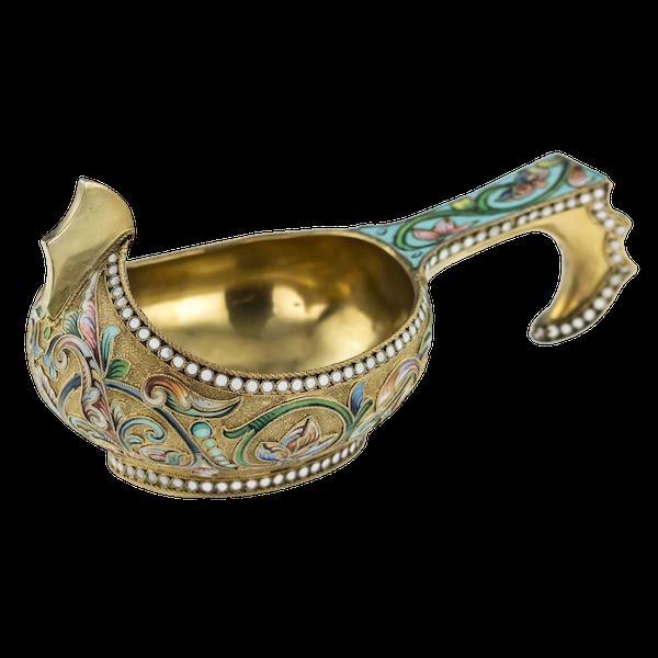 19th Century Russian Silver Enamel Kovsh by Vasiliy Agafonov - image 1