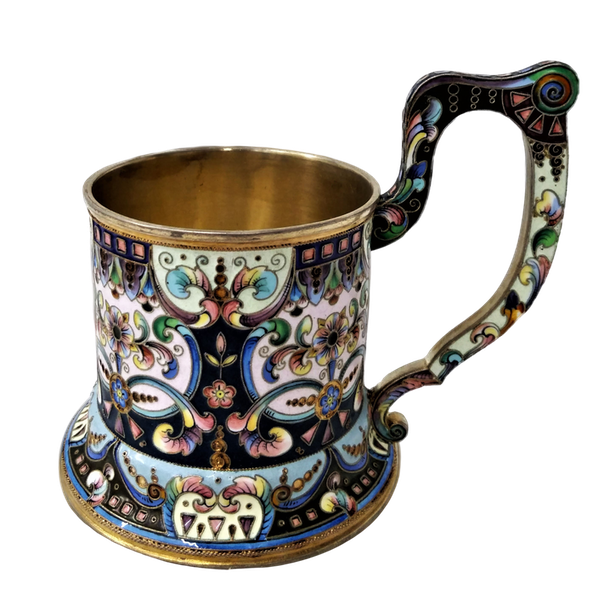 Russian Silver and Enamel Tea Glass Holder, Moscow c.1900 - image 1