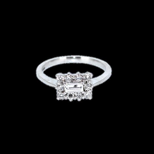 Emerald Cut Diamond Cluster Ring. S.Greenstein - image 1