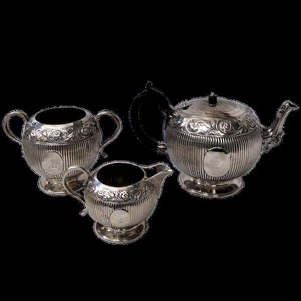 Victorian Sterling Silver Three-Piece Tea Set, English c.1880 - image 1