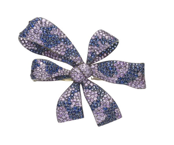 Moira Design Shaded Sapphire Bow Brooch - image 1