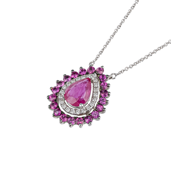 Droplet shaped ruby necklace - image 1