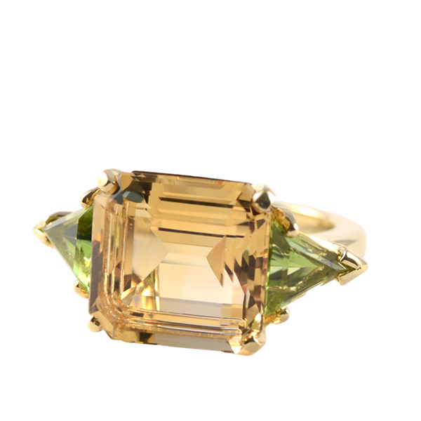 London 1996, 18ct Yellow Gold Citrine & Peridot stone set Ring, SHAPIRO & Co - image 1