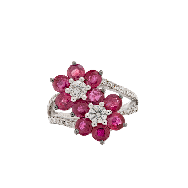 2 flowers shaped ruby ring - image 1