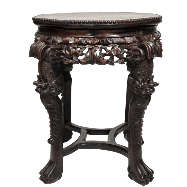 Chinese marble topped wood stand - image 1