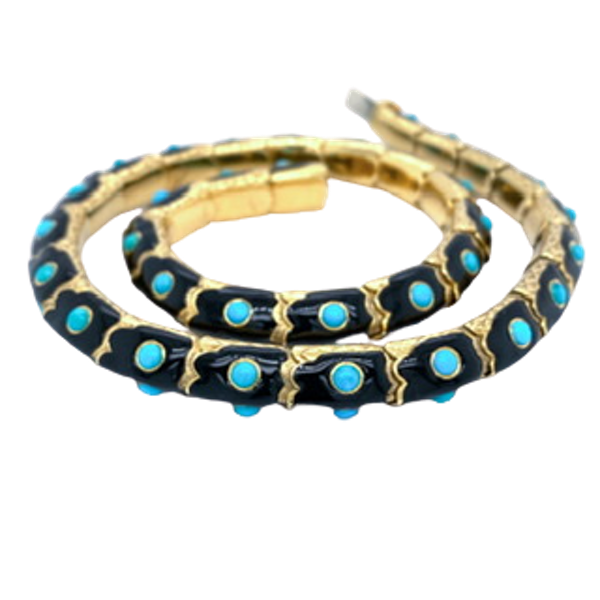 Gold,enamel and turquoise collar - image 1
