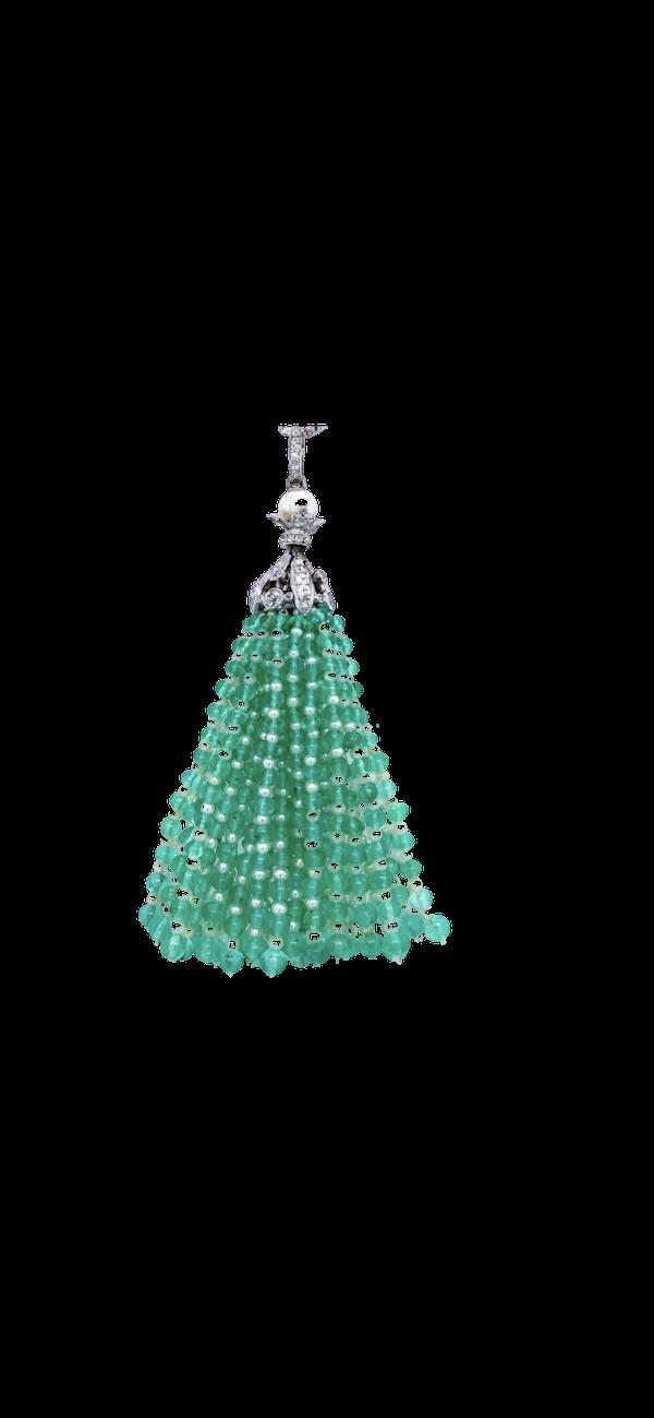 Emerald,pearl diamond tassel - image 1