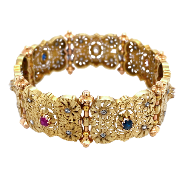 C19 th French gem set panel bracelet - image 1