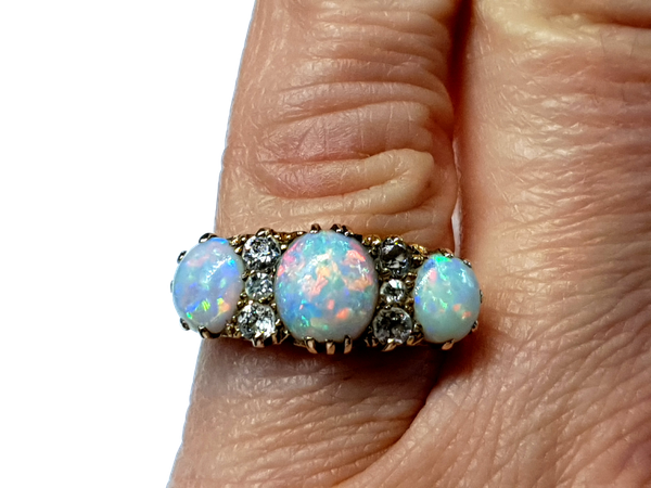 Victorian three stone opal and diamond dress ring - image 1