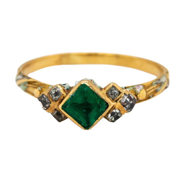 Emerald diamond white enamel 17th century ring - image 1